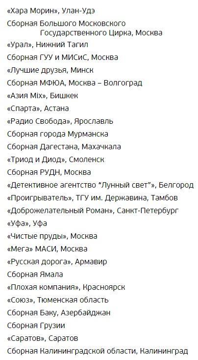 Список команд Голосящий Кивин 2016