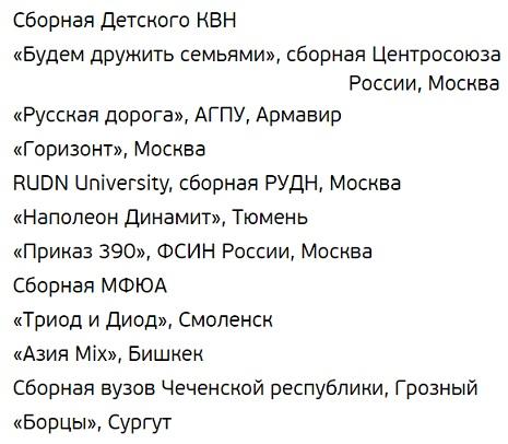Участники КВН Кубка мэра Москвы 2017
